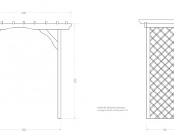 Schemat techniczny konstrukcji pergoli