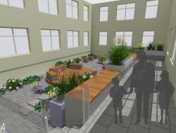Wizualizacja widoku z wejścia z budynku Polikliniki