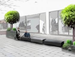 Wizualizacja aranżacji miejsc siedzących z drzewem cytrusowym