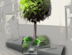 Wizualizacja zakątka wypoczynkowego z drzewem cytrusowym