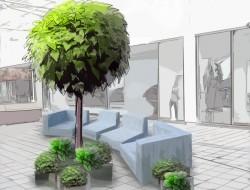 Wizualizacja aranżacji przestrzeni z kompozycjami roślinnymi w donicach i nowoczesnymi meblami drewnianymi