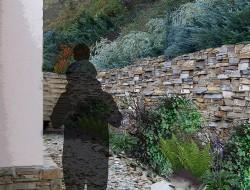 Wizualizacja skarpy za pensjonatem - zakątek roślin cieniolubnych