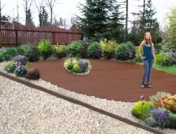 Wizualizacja tarasu drewnianego oraz kompozycji roślinnych