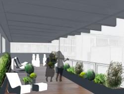 Wizualizacja tarasu w stylu nowoczesnym - ogród monochromatyczny, wyciszający