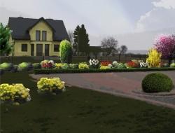 Rabata kwitnących bylin, o kolorystyce żółto-pomarańczowo-czerwonej, z obwódką strzyżonego bukszpanu; uzupełnieniem rabaty jest kompozycja krzewów iglastych oraz liściastych i rajskiej jabłoni