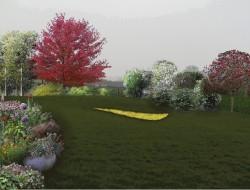 Miniaturowa górka saneczkowa z piaskownicą o organicznym kształcie, która będzie sąsiadować z poziomkowym polem; południowo-wschodnią granicę działki obsadzono drzewami i krzewami o różnorodnych walorach dekoracyjnych