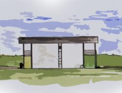 Przekrój przez teren opracowania uwzględniający planowaną bryłę budynku