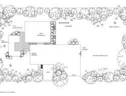 Rzut szczegółowy projektu wraz ze schematem nasadzeń roślinnych