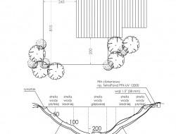 Schemat techniczny oraz przekrój stawu kąpielowego