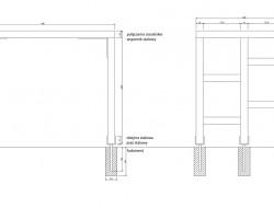 Schemat techniczny pergoli przy wejściu do części użytkowej ogrodu