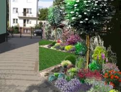 Wizualizacja kompozycji roślinnych wzdłuż podjazdu