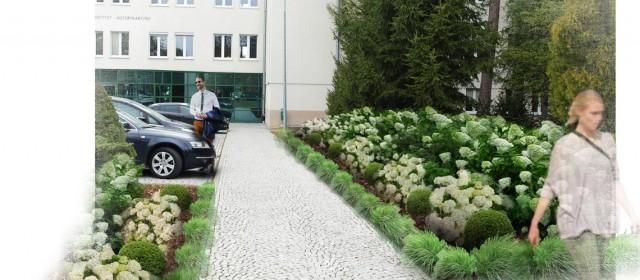 Projekt zagospodarowania terenu przed budynkiem głównym PIWet w Puławach