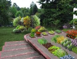 Wizualizacja ogrodu warzywnego w formie tarasów - rabaty warzywne z akcentami roślin ozdobnych na tle nawierzchni żwirowej