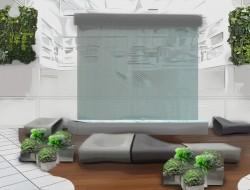 Wizualizacja aranżacji przestrzeni wypoczynkowej ze ścianą wodną, kompozycjami roślinnymi w donicach i nowoczesnymi meblami wypoczynkowymi