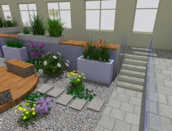 Wizualizacja kompozycji roślinnych na tle nawierzchni żwirowej oraz w donicach
