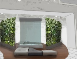 Wizualizacja aranżacji ze ścianą wodną, mobilnymi ogrodami wertykalnymi w donicach i nowoczesnymi meblami wypoczynkowymi