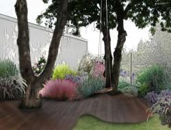 Wizualizacja tarasu z drzewami oraz projektowane kompozycje roślinne