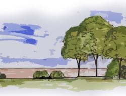 Przekrój przez projektowany teren przed budynkiem