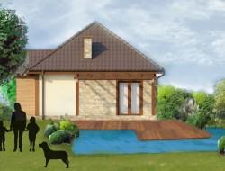 Wizualizacja stawu kąpielowego wraz z tarasem na tle projektowanego budynku