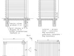 Schemat techniczny konstrukcji przesłony ogrodowej