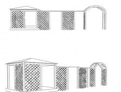 Schemat altany z trejażem i pergolą
