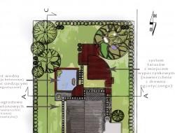Aranżacja strefy prywatnej za budynkiem z elementem wodnym oraz systemem tarasów