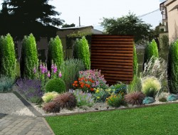 Wizualizacja strefy prywatnej kompozycje roślinne z parawanami ogrodowymi